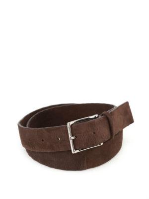 Orciani: belts - Camoscio dark brown suede belt