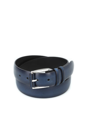 ORCIANI: cinture - Cintura Buffer in pelle color blù