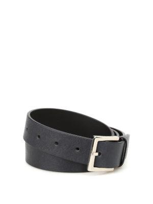 ORCIANI: cinture - Cintura in pelle saffiano blu scuro