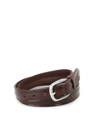 Orciani: belts - Dark brown Bull Soft leather belt