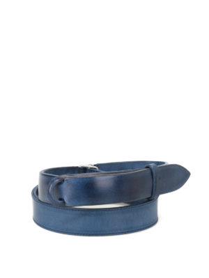 Orciani: belts - Dive Nobuckle blue leather belt