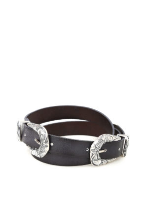Orciani: belts - Double buckle leather belt