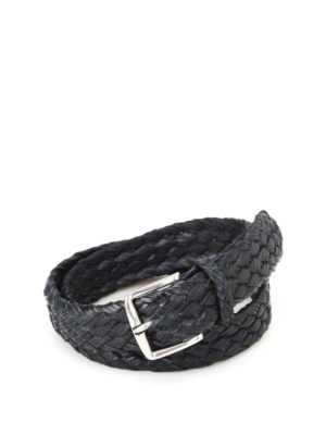 Orciani: belts - Fort dark blue braided leather belt