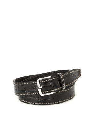 Orciani: belts - Kenya printed leather black belt