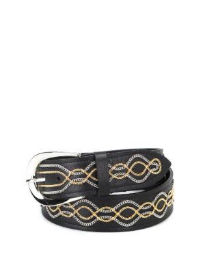 ORCIANI: cinture - Cintura Lotus in pelle con catenelle