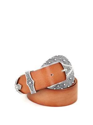 Orciani: belts - Maxi buckle leather belt
