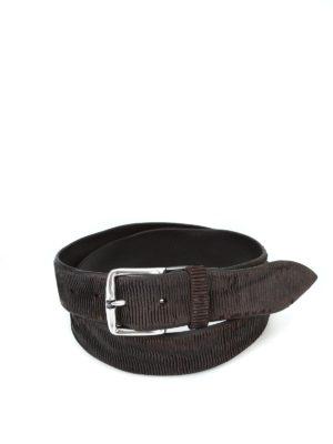 ORCIANI: cinture - Cintura New Bark in pelle testa di moro