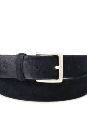 Orciani: belts online - Blue brushed suede belt
