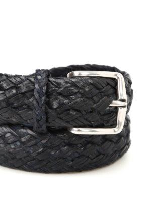Orciani: belts online - Blue woven leather belt