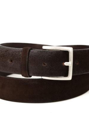 Orciani: belts online - Brown brushed suede belt