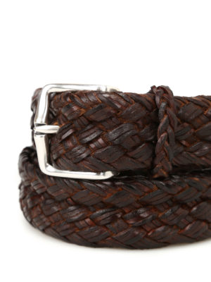 Orciani: belts online - Brown woven leather belt