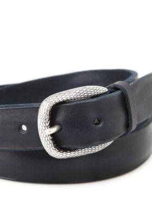 Orciani: belts online - Bull Soft dark blue leather belt