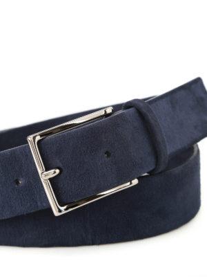 Orciani: belts online - Camoscio dark blue suede belt