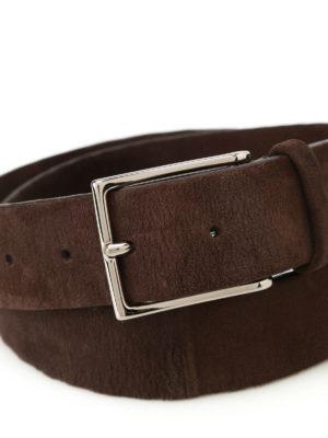 Orciani: belts online - Camoscio dark brown suede belt