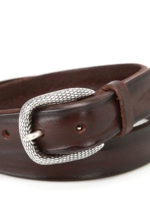 Orciani: belts online - Dark brown Bull Soft leather belt
