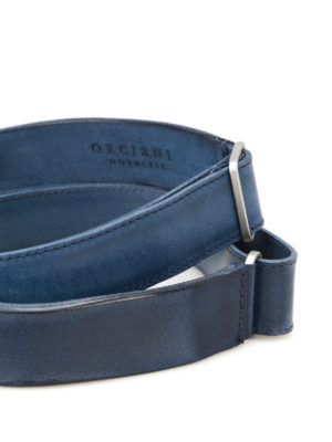 Orciani: belts online - Dive Nobuckle blue leather belt
