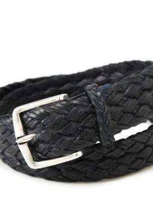 Orciani: belts online - Fort dark blue braided leather belt