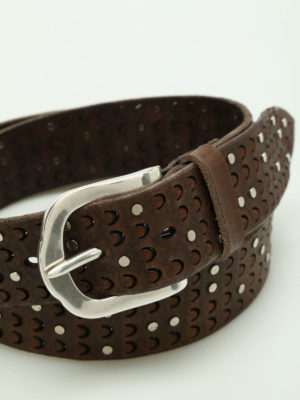 Orciani: belts online - Stain studded carved leather belt