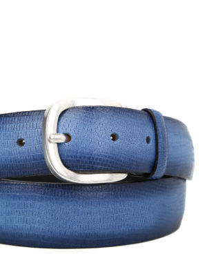 Orciani: belts online - Tejus lizard effect leather belt