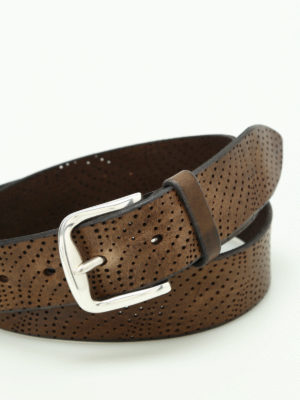 Orciani: belts online - Wax drilled leather belt