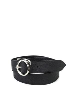 ORCIANI: cinture - Cintura Soft in pelle martellata nera