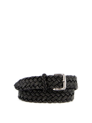 ORCIANI: belts - Spin woven leather belt