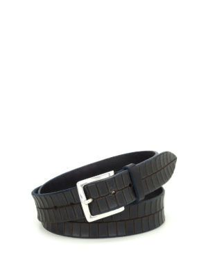 Orciani: belts - Stain croco print leather belt