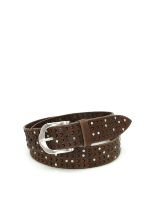 Orciani: belts - Stain studded carved leather belt