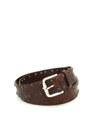 Orciani: belts - Stain studded leather belt
