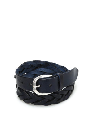 Orciani: belts - Stain woven leather belt