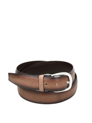 Orciani: belts - Tejus lizard effect leather belt