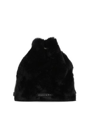 ORCIANI: borse a tracolla - Borsa a tracolla in eco pelliccia nera
