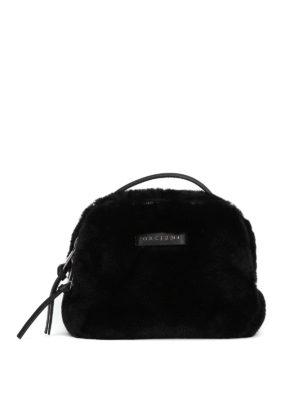 ORCIANI: borse a tracolla - Borsetta in eco pelliccia nera