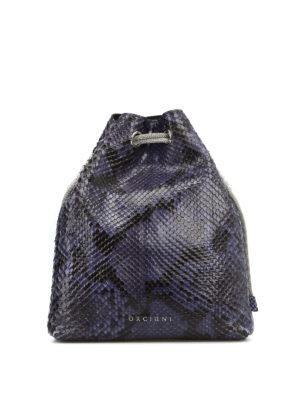 ORCIANI: borse a tracolla - Borsetta in pelle stampa pitone blu