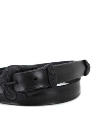 ORCIANI: cinture online - Cintura Bull Soft nera con fibbia lavorata