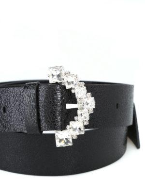 ORCIANI: cinture online - Cintura Cosmo nera con fibbia di strass