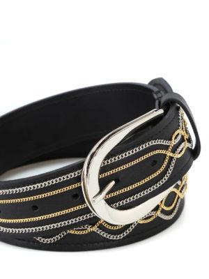 ORCIANI: cinture online - Cintura Lotus in pelle con catenelle