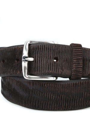 ORCIANI: cinture online - Cintura New Bark in pelle testa di moro