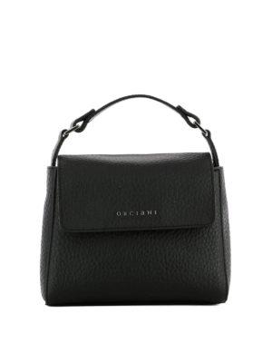 Orciani: shoulder bags - Hammered leather black shoulder bag
