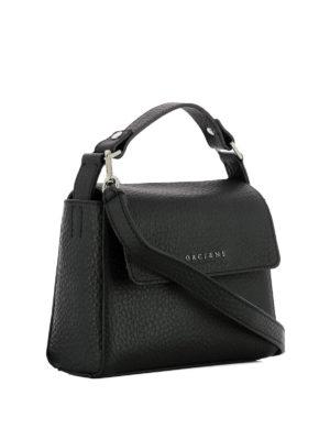 Orciani: shoulder bags online - Hammered leather black shoulder bag
