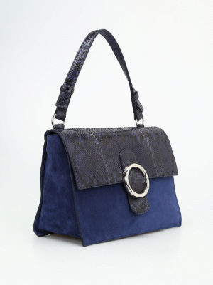 Orciani: shoulder bags online - Procious croco and suede bag