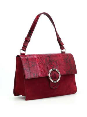 Orciani: shoulder bags online - Procious croco and suede wine bag