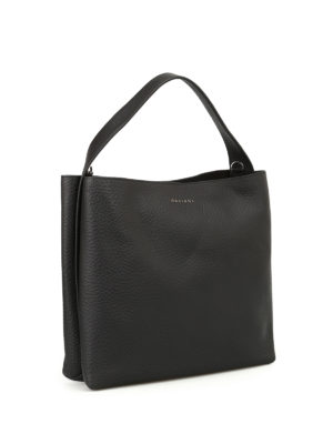 Orciani: shoulder bags online - Soft black leather shoulder bag