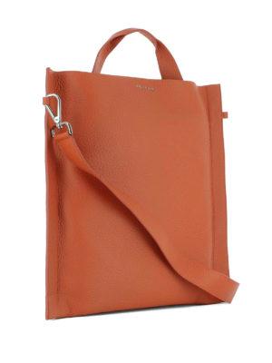 Orciani: shoulder bags online - Soul orange leather squared bag