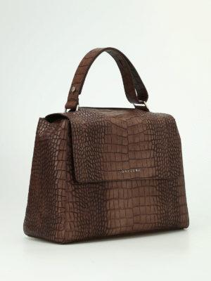 Orciani: shoulder bags online - Sveva M croco print leather bag