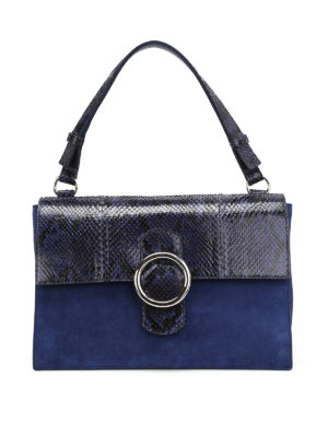 Orciani: shoulder bags - Procious croco and suede bag