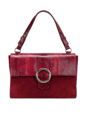 Orciani: shoulder bags - Procious croco and suede wine bag