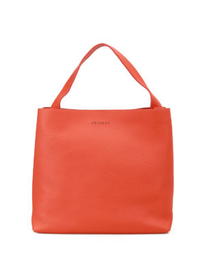 Orciani: shoulder bags - Soft arancio leather shoulder bag