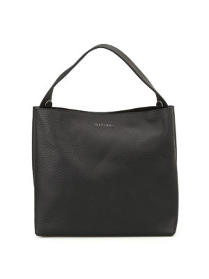 Orciani: shoulder bags - Soft black leather shoulder bag