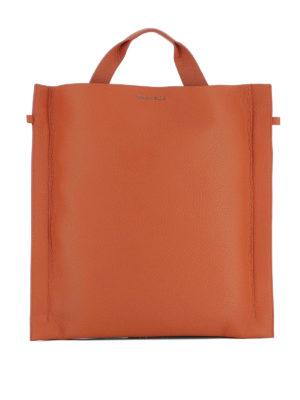 Orciani: shoulder bags - Soul orange leather squared bag